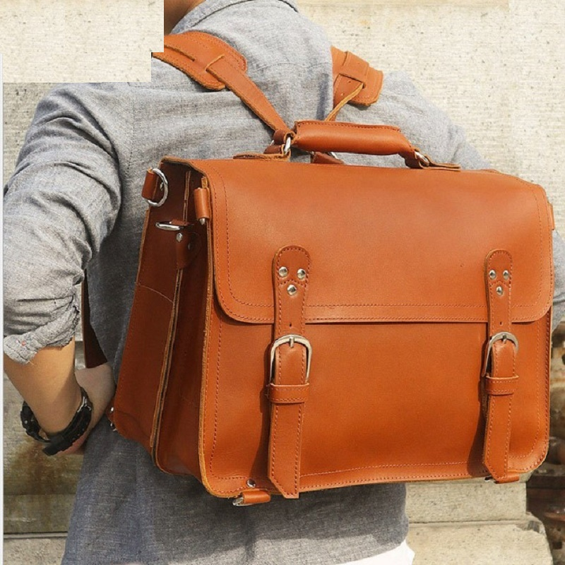 Men's Briefcases Vintage Large Capacity Travel Genuine Leather  Briefcase Shoulder Crossbody Hand Bags  Casual  Tote Handbags