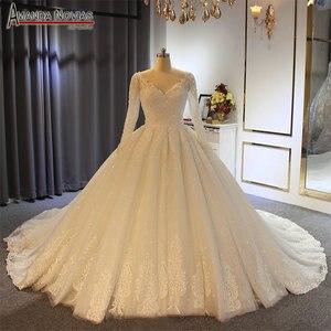 Image 1 - 2019 gelinlik abito da sposa maniche lunghe con il pieno di cristallo abito da sposa reale di lavoro