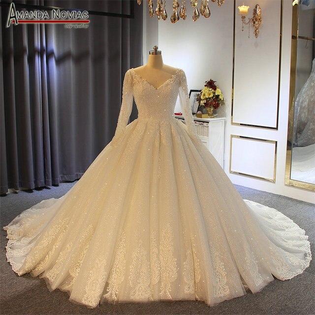 2019 gelinlik abito da sposa maniche lunghe con il pieno di cristallo abito da sposa reale di lavoro