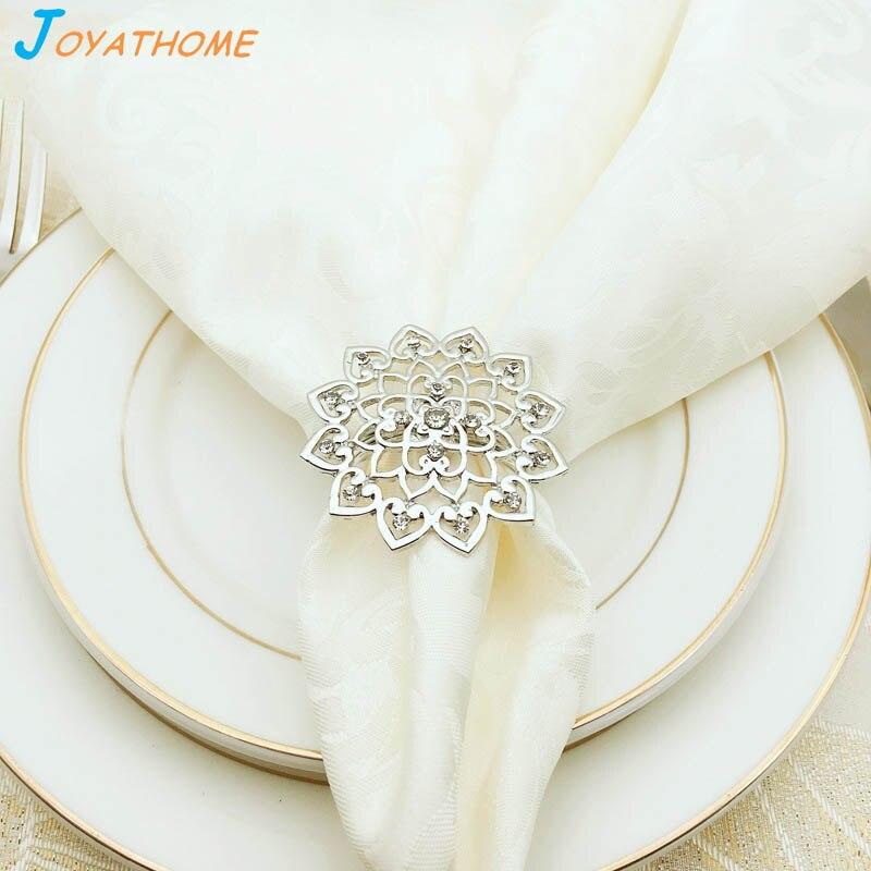 Joyathome Silver Luxury Flower Shaped Napkin Rings Western Style Christmas Napkin Holders Napkin Rings for Weddings Free Gift in Napkin Rings from Home Garden