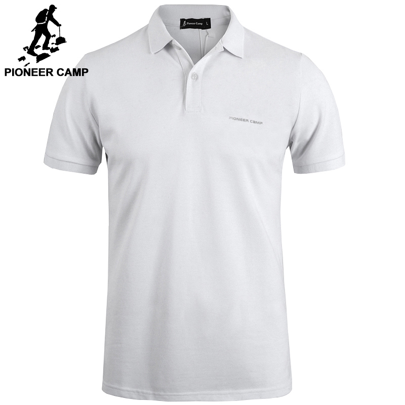 Pioneer Camp New classic   Polo   shirt men brand-clothing casual solid summer   Polos   male quality 100% cotton black white dark bue