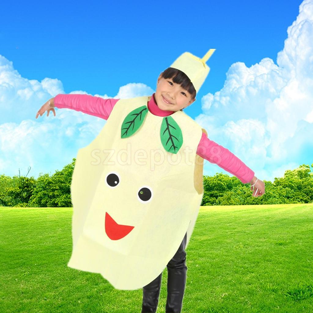 Cute Kids Boys Girl Pear Suit for Childrens Day Party Costume Fruit Fancy Dress Cosplay Clothes Cartoon Fruit Vegetable