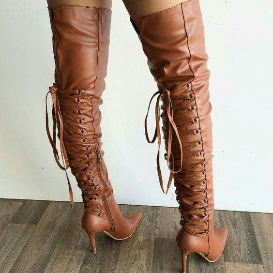 Brown Smooth Leather Women Fashion Over The Knee Boots Sexy Pointy Toe Ladies Lace Up Back Boots 2018 Hot High Heel Boots Size42 taomengsi women s boots brown and brown plus velvet thickening martin boots front strap lace up round toe ladies boots