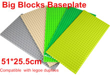 1pcs/lot Big Particles Building Blocks Base Plate 51*25.5cm Baseplate 100% Compatible with Lepin Duploes Kids Bricks Baseplate