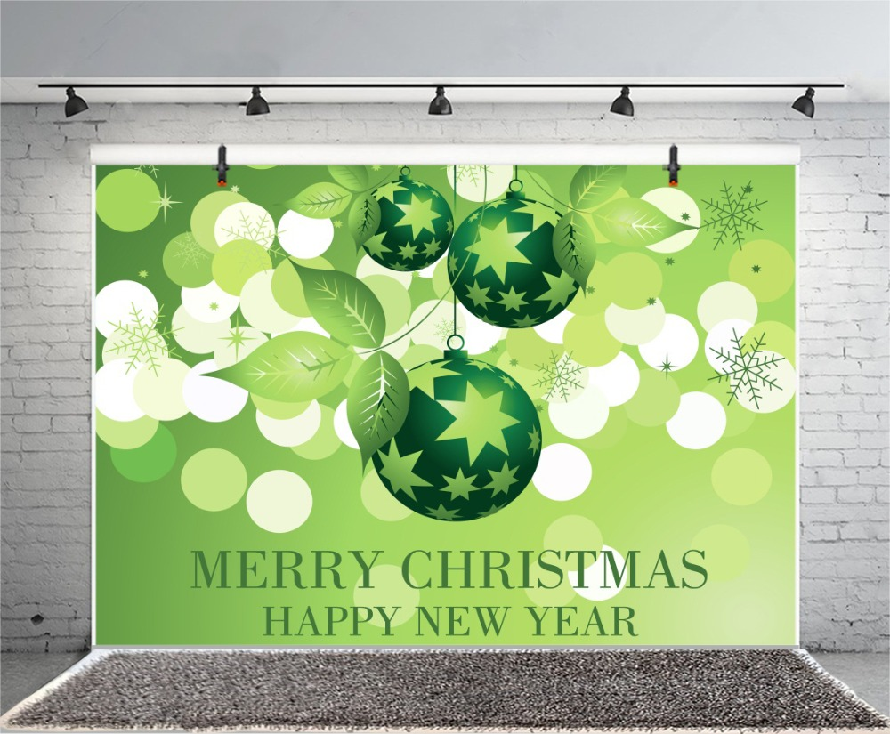 Laeacco Merry Christmas Happy New Year Green Polka Dots Ball Dreamy Party Decor Baby Photo Backgrounds Photographic Backdrops in Background from Consumer Electronics
