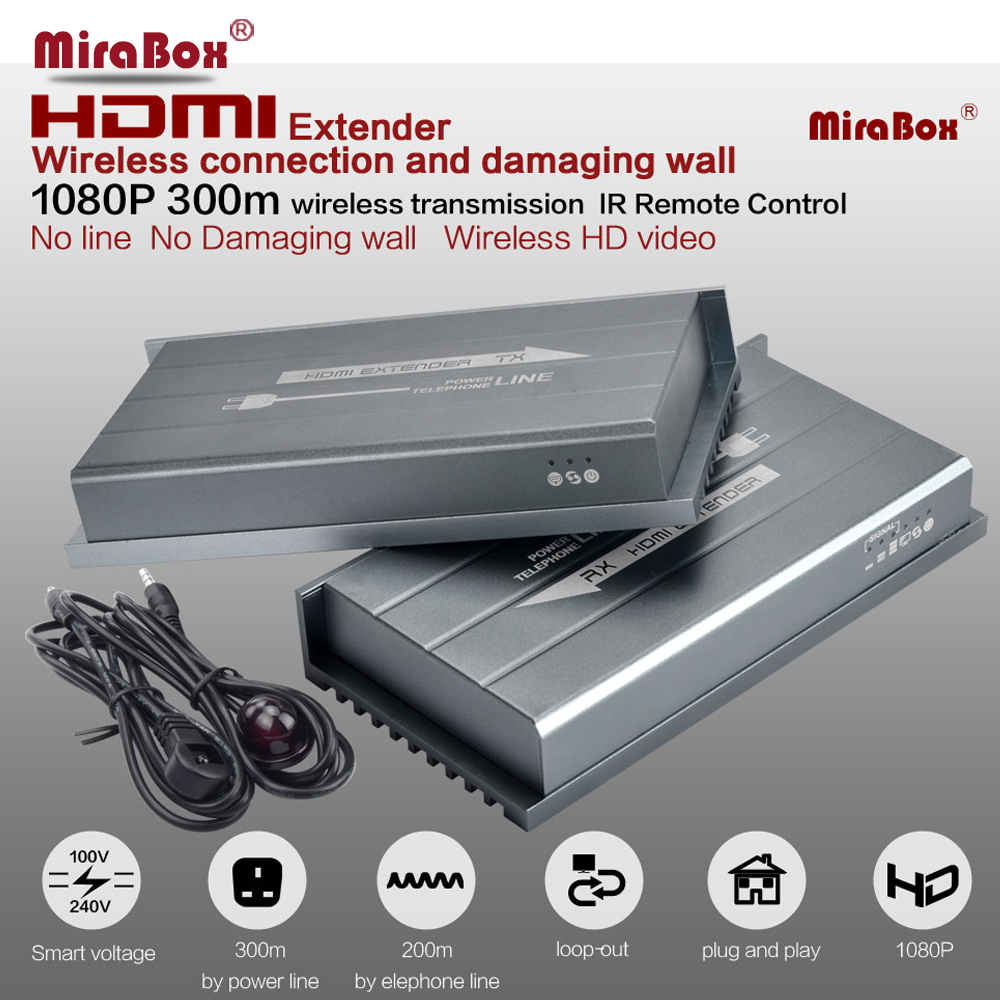 MiraBox 984ft 1080P 60HZ Hdmi Extender Over Home s Powerline Works Like Wireless HDMI Extender PLC