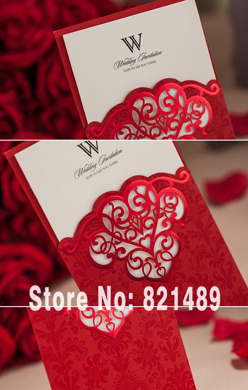 Red Pocket Wedding Invitation Card; Customized Red Wedding ...
