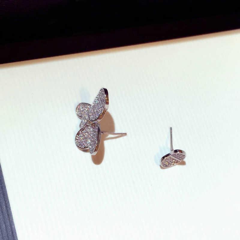 Hot Genuine 925 Sterling Silver Asymmetry Heart Stud Earrings Jewelry Women CZ Zircon Earring for Girl Party Birthday
