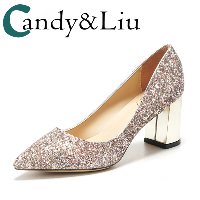 2f18757326 US $51.09 27% OFF|Wedding Female Thick Shoes Pink Sequins Bridesmaid Silver  Lower Heel Party Bling 5cm 7cm Comfortable Pumps Bride Monther Shoes -in ...