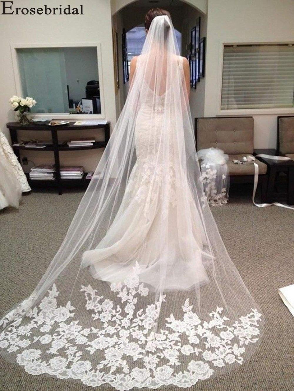 Erosebridal New Arrival 2019 Cathedral 3 Yard Bride Veil Lace Edge Veil Appliqued Long Women Wedding White Veil Custom Size