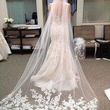 Erosebridal Новое поступление Соборная 3 ярда Фата невесты кружевная кромка вуаль аппликация Длинная женская свадебная белая вуаль Индивидуальный размер