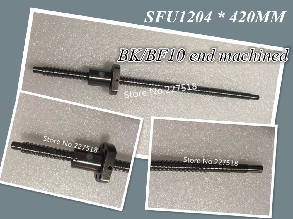 1 pc 12mm Ball Screw Rolled C7 ballscrew SFU1204 420mm plus 1 pc RM1204 flange single nut CNC parts BK/BF10 end machined durable 1 pc sfu1204 l500mm rolled ball screw c7 with single ballscrew nut od22mm for bk bf10 end machined cnc parts mayitr