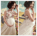 Linda impressão corte partwork vestido de renda para as mulheres grávidas fotografia vestido de baile maternidade vestido Apliques acessório