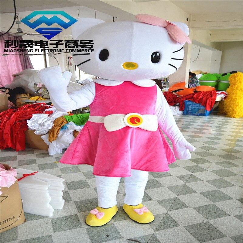 Offre spéciale Hello Kitty mascotte costumes dessin animé poupée robe bowknot KT chat promenade dessin animé figures dessin animé vêtements