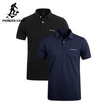 Pionner Camp 2 pack الرجال قميص بولو الأعمال و عادية الصلبة الذكور قميص بولو قصيرة الأكمام لينة الأزرق الداكن الأسود حزمة من 2