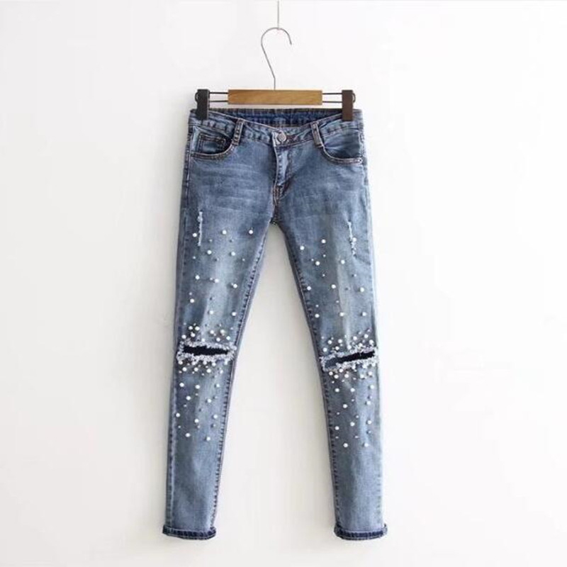 Zebery Light Blue Scratched Hole   Jeans   Woman Tight Trousers Pearl Decoration Fashion Retro   Jeans   For Women's Clothing