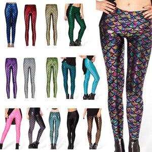 Image 5 - Pantalones de moda para mujer, Leggings con estampado Digital, sirena pez escamas, LXH