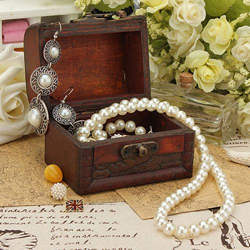 Popular Vintage Jewelry Box Organizer Pearl Necklace Bracelet Storage Wooden Case Gift Boxes Porte Bijoux Dropshipping