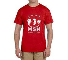 2017 New msn Printed messi neymar jr suarez T-Shirt Men Short Sleeve O Neck fashion T-shirts fans gift 0219-3