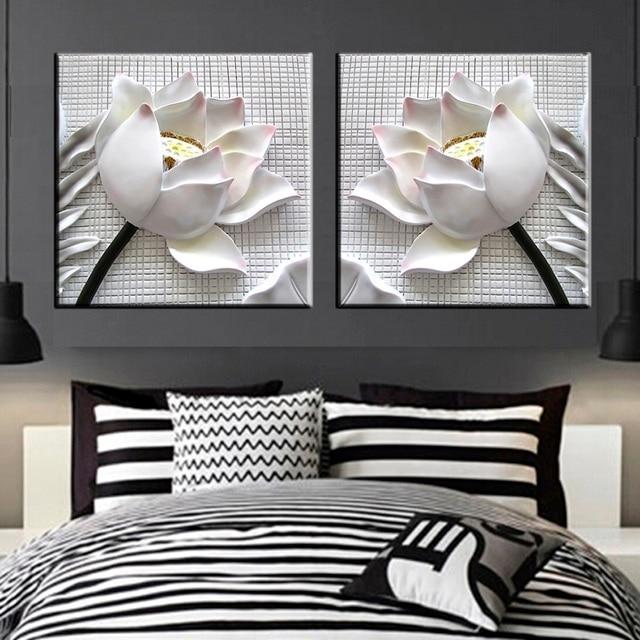 2 Stücke Moderne 3D White Lotus Blumen Definition Bilder Leinwand Dekoration  Wohnzimmer Wand Modulare Malerei Drucken