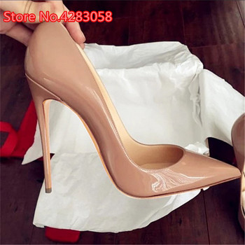 2019 Fashion free shipping Women lady nude Patent Leather Poined Toe Stiletto high heel pump HIGH-HEELED SHOES Wedding Shoes