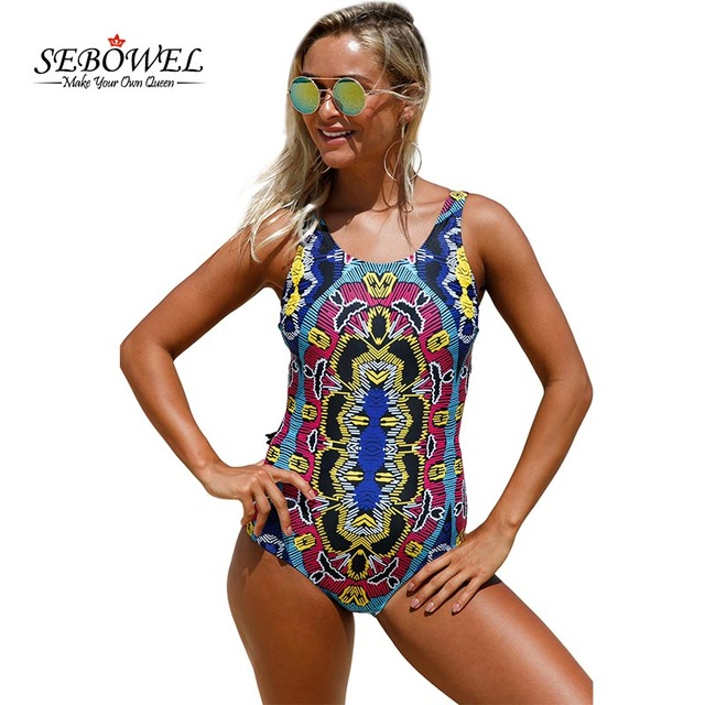 80f373c3754d6 SEBOWEL 2018 Sexy Tribal Print One Piece Swimsuit Women Padded Monokini  Brazil Swimwear Female Bathing Suit Lace up Swim Suit