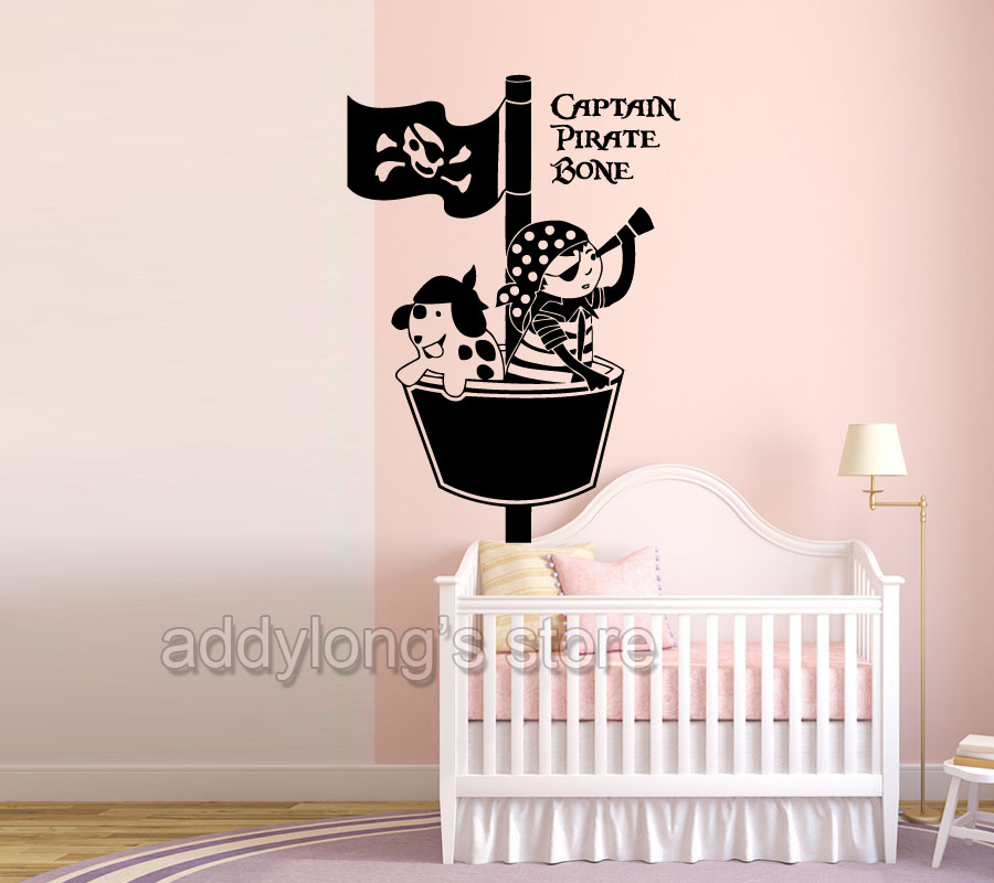 Personalized Name Pirate Wall Sticker Bedroom Pirates Ship Stickers