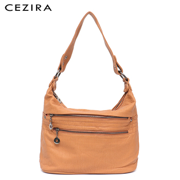 CEZIRA Fashion Women Handbag Washed Vegan Leather Shoulder Messenger Bags Casual Pockets Bags PU Bolsa Feminina Cross body Bags