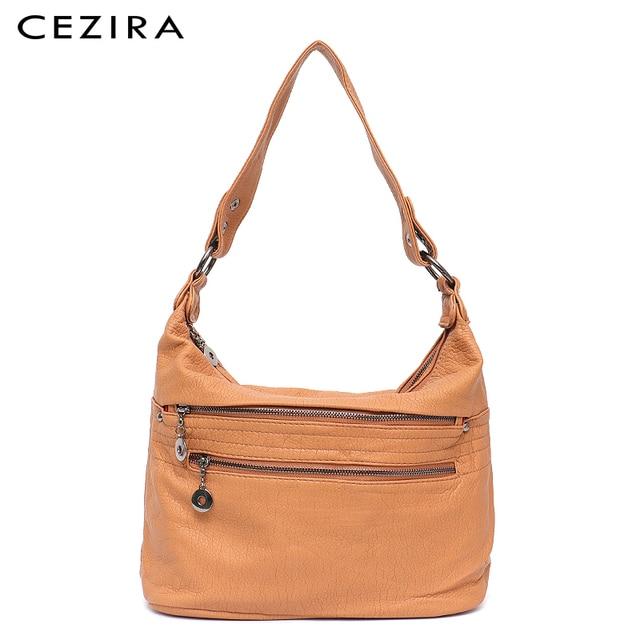 CEZIRA Fashion Women Handbag Washed Vegan Leather Shoulder Messenger Bags Casual Pockets Bags PU Bolsa Feminina Cross body Bags