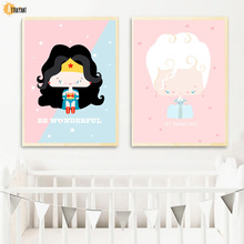 Cartoon Wonder Woman Storm Nordic Posters And Prints Wall Art Canvas Painting Pictures Kids Bedroom Baby Girl Room Decor