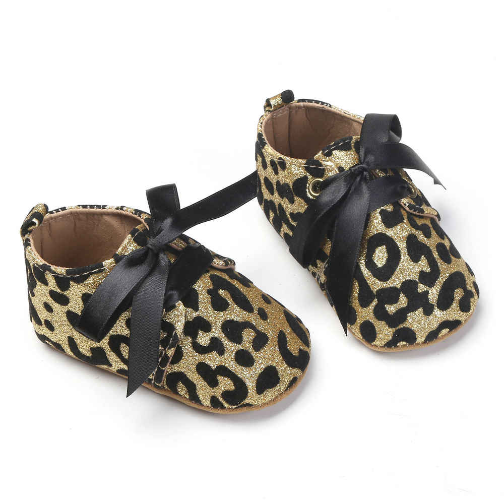 fe4c5cc8d404 ... 2017 New Infant Baby Boy Girl Glitter Trainers Soft Sole Pram Shoes  Leopard Bow Baby First ...