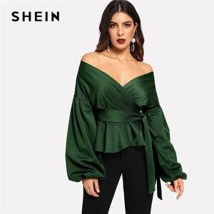 Блузка с рукавом-фонариком SHEIN, зеленая, офисная, с открытым плечиком, с баской, осенняя, для работы