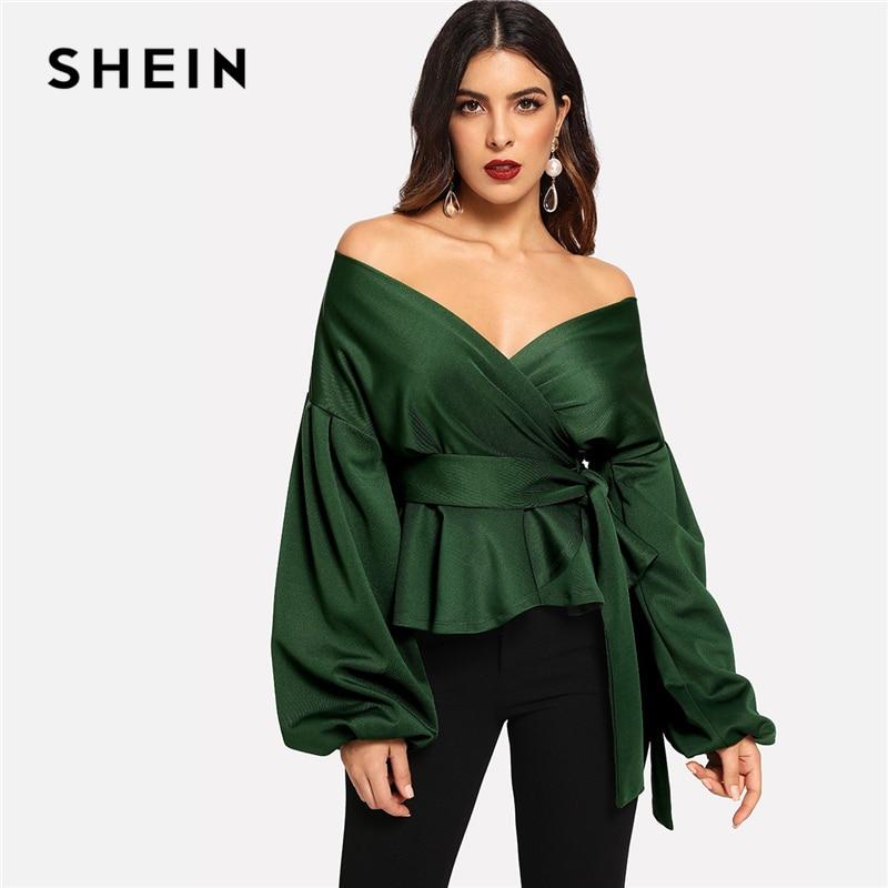 SHEIN Green Elegant Office Lady Solid Off Shoulder Lantern Sleeve Surplice Peplum Blouse Autumn Workwear Women Tops And Blouses