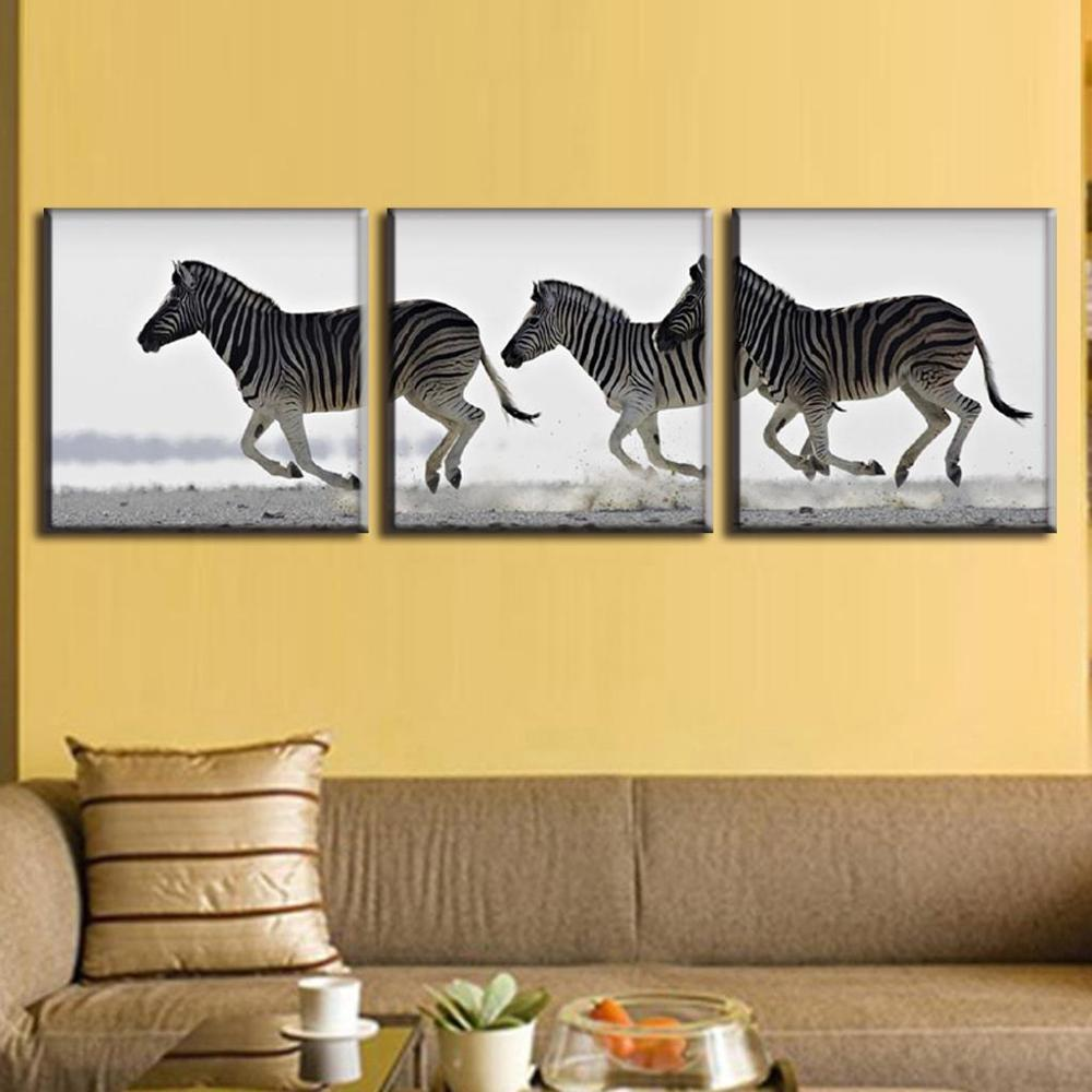 Modern 3 Pieces Frameless Animal Oil Painting On Canvas Running ...