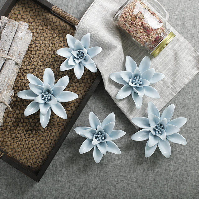 Handmade orchid / rose ceramic flower wall ornament restaurant hotel ...
