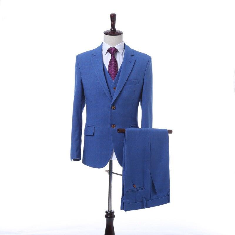 Made Hommes Personnalisé Travail Bureau 3 Custom Gilet Ensemble Mode  Costume Mince Pantalon Bleu Revers De Vêtements veste anPnz1BqE b0a17f3cdd4