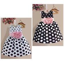 Princess Baby Kids Girls Party Wedding Polka Dot Flower Gown Fancy Dress 2 7Y