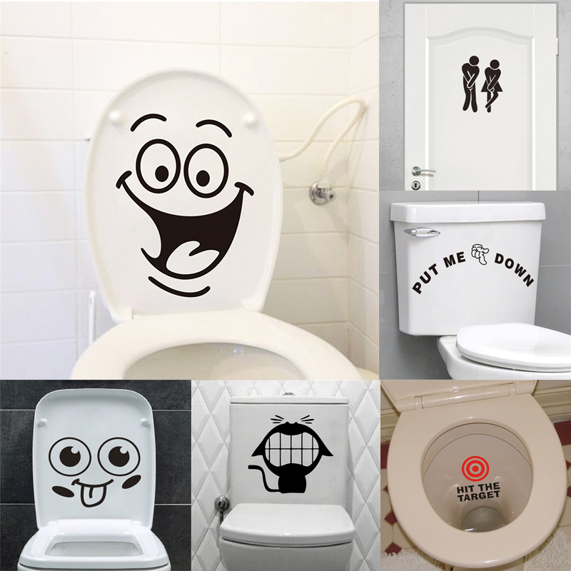 Funny Toilet Sign Stickers Bathroom Decoration Home Decals Art Waterproof Creative Wall Vinyl Posters