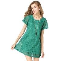 2018 Vintage Lace Dress Czarny Zielony Letnie Sukienki Moda Casual Odzież Damska Stałe Proste Krótkie Rękawy Sukienka Vestido AB365