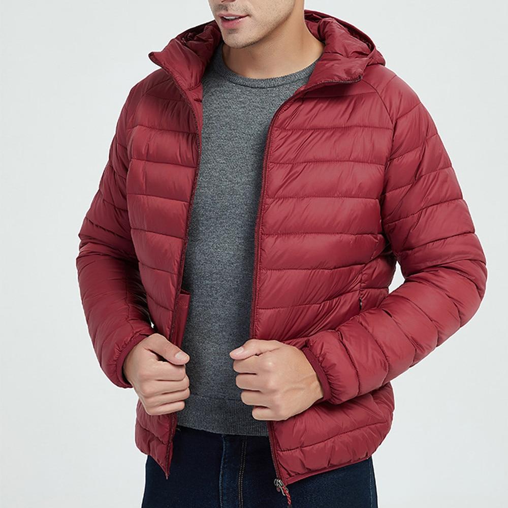 Jacket Men Autumn Winter Style Light Weight Overcoat Outerwear Coats Cotton Warm Hooded Men's Jacket Coat chaqueta hombre S-2XL