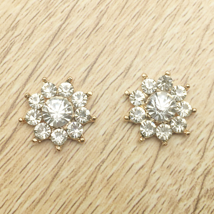 Buttons 10pcs 1.7*1.7cm Water Drill Snow Alloy Fittings Flower Round Cluster Flatback Wedding Embellishment Jewelry Craft Meticulous Dyeing Processes Apparel Sewing & Fabric