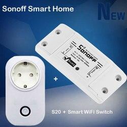 Sonoff casa inteligente inteligente diy temporizador wi fi interruptor + itead wi fi inteligente soquete s20 controle remoto sem fio para automação residencial