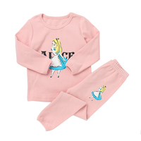 Fashion Children Pajamas Suits Girls And Boys Cotton O Neck Clothing Sets Long Sleeve Top Tee