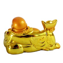Feng Shui Happy Laughing Buddha Statue with Wealth Gold Ingot