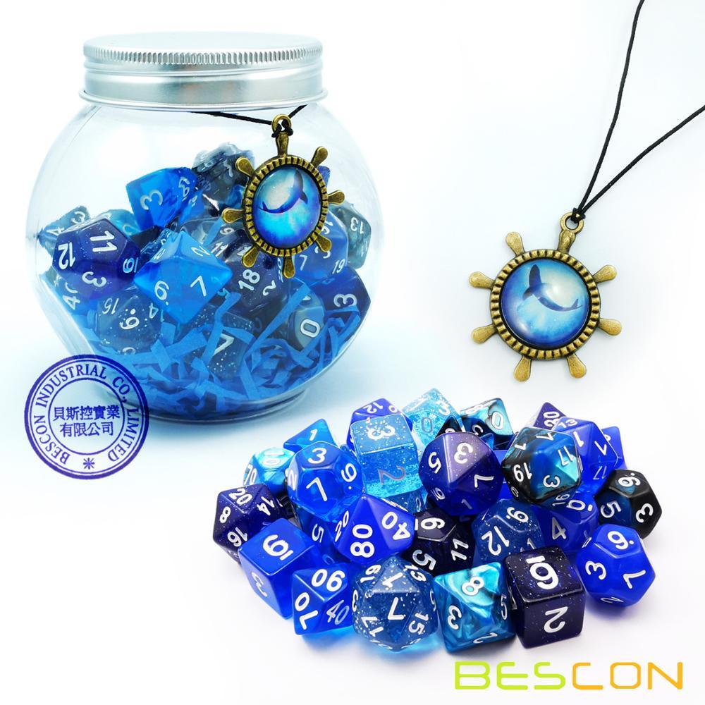 Bescon RPG Dice Set 35pcs Ocean Blue Set, DND Role Playing Game Dice 5X7pcs