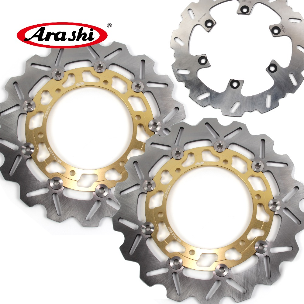 ARASHI For YAMAHA BT1100 BULLDOG 2002-2006 CNC Front Rear Brake Rotors Brake Disc BT 1100 BULLDOG 2003 2004 2005 FZS1000 XJR1300 for yamaha bt1100 bulldog 2003 2004 motorcycle accessories cnc aluminum adjustable short brake clutch levers gold