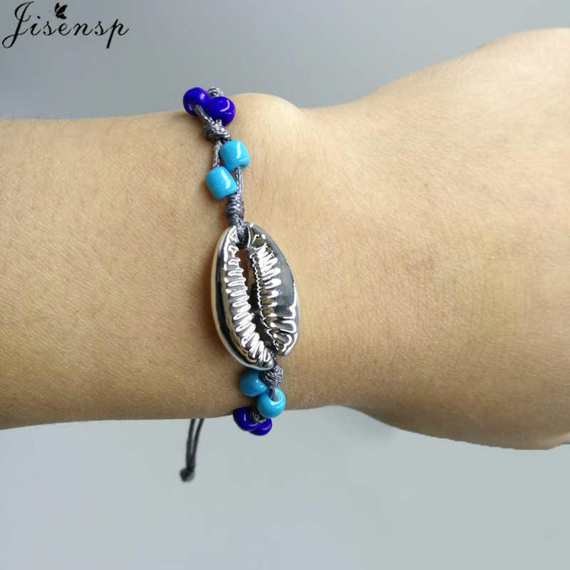 Jisensp Stainless Steel Bracelet Simple Fashion Bead Seashell Bracelets Bangles for Women Birthday Gift armbanden voor vrouwen
