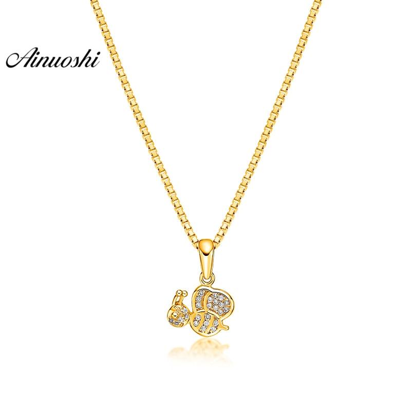 купить AINUOSHI 10K Solid Yellow Gold Pendant Shining Bee Pendant SONA Diamond Women Men Child Jewelry Little Animal Separate Pendant недорого
