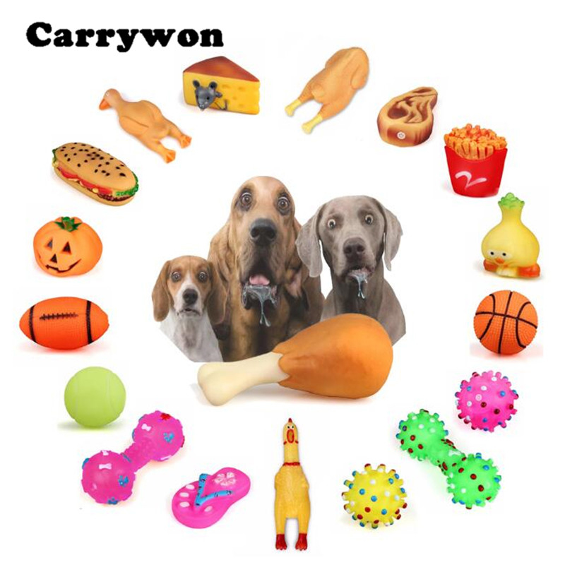 Carrywon Pet Dog Cat Chew Toys Anti Bite Squeaker Squeaky Plush Sound Cute Ball Chicken Leg Designs Puppy Bath Brush Comb