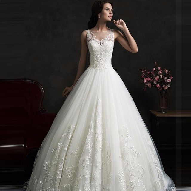 2016 Fall Amelia Sposa A Line Wedding Gowns With Sheer Scoop Neck ...